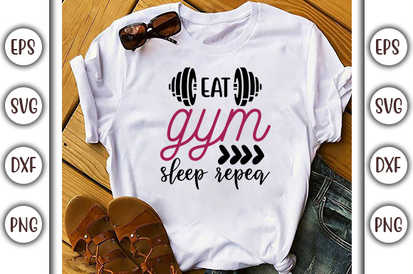 Download Free Gym Quotes Design Eat Gym Sleep Graphic By Graphicsbooth for Cricut Explore, Silhouette and other cutting machines.