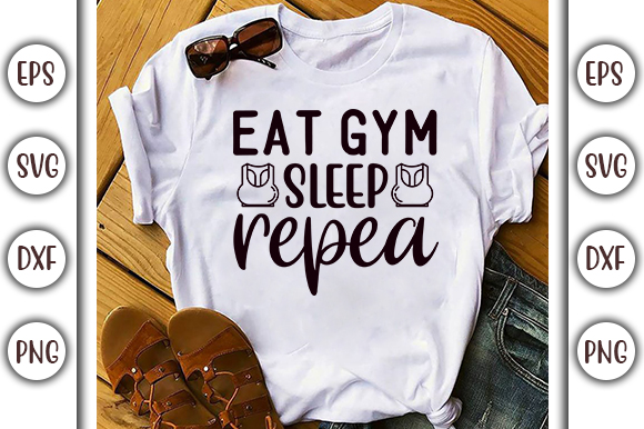 Download Free Gym Quotes Design Eat Gym Sleep Repeat Graphic By Graphicsbooth for Cricut Explore, Silhouette and other cutting machines.