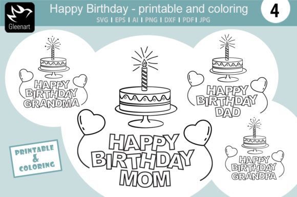 Download Free Happy Birthday Printable And Coloring Graphic By Gleenart for Cricut Explore, Silhouette and other cutting machines.