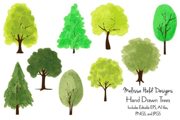 Download Free Hand Drawn Trees Graphic By Melissa Held Designs Creative Fabrica for Cricut Explore, Silhouette and other cutting machines.