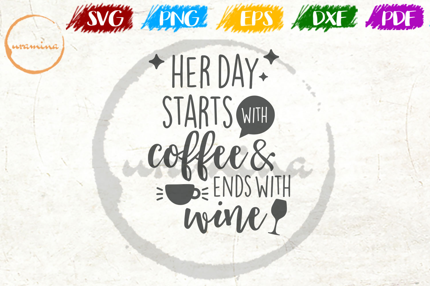 Download Free Her Day Starts With Coffee Graphic By Uramina Creative Fabrica SVG Cut Files