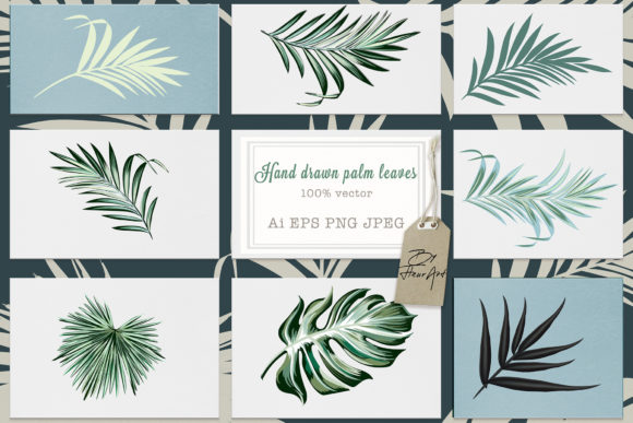 Jungle Palm Vector Leaves Set Graphic Objects By fleurartmariia