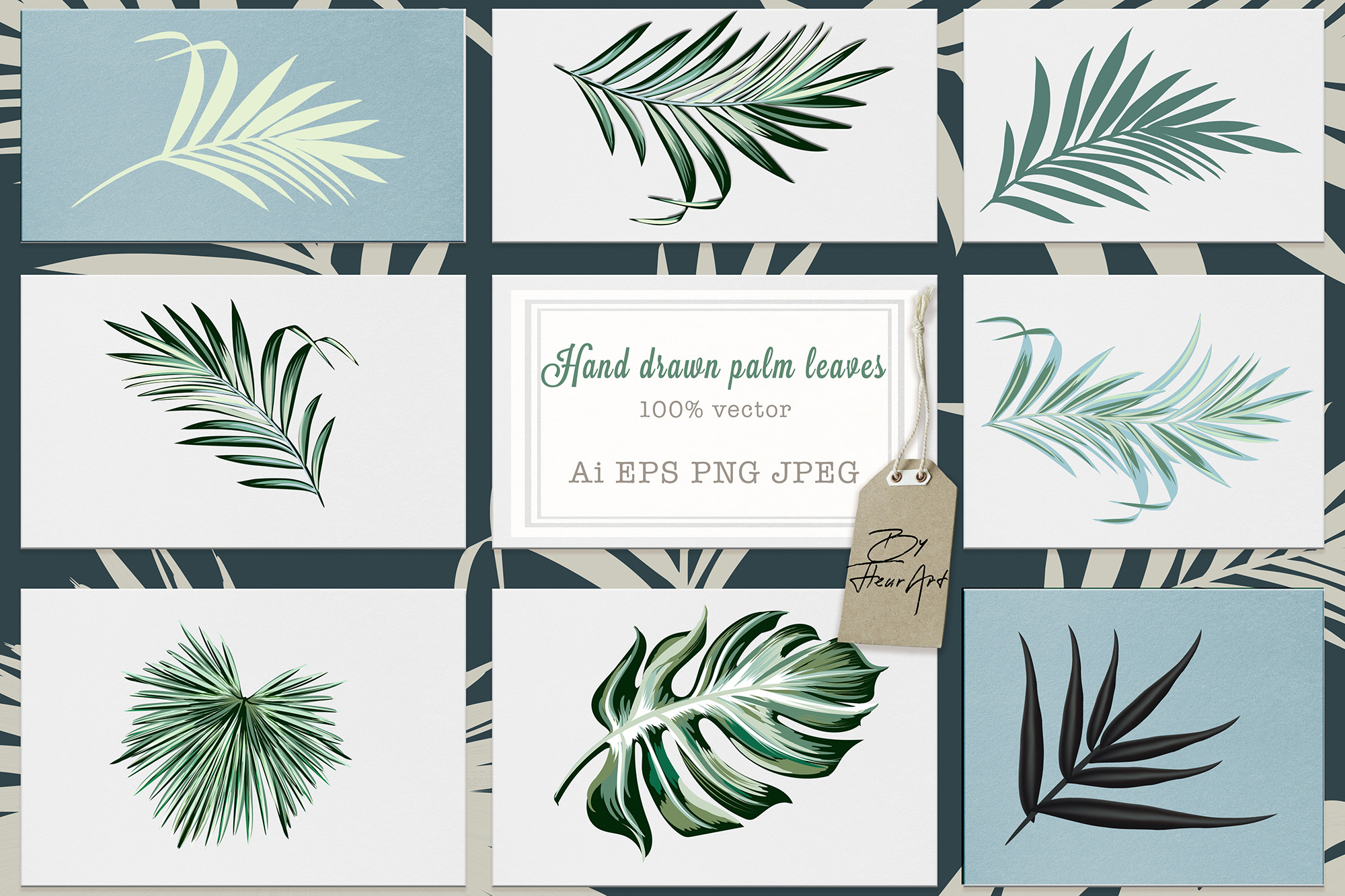Download Free Jungle Palm Vector Leaves Set Graphic By Fleurartmariia for Cricut Explore, Silhouette and other cutting machines.