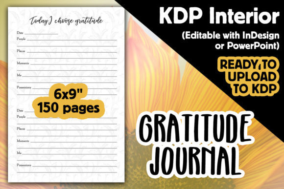 KDP Interior | Gratitude Journal Graphic KDP Interiors By Laura Burke
