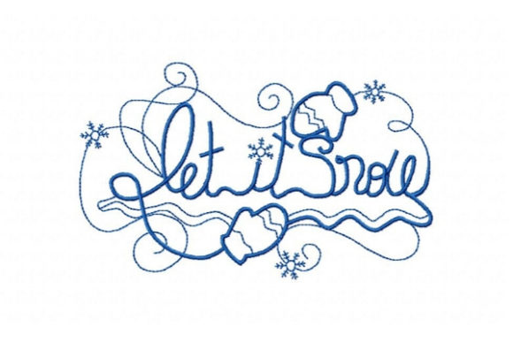 Let It Snow Winter Embroidery Design By Sue O'Very Designs