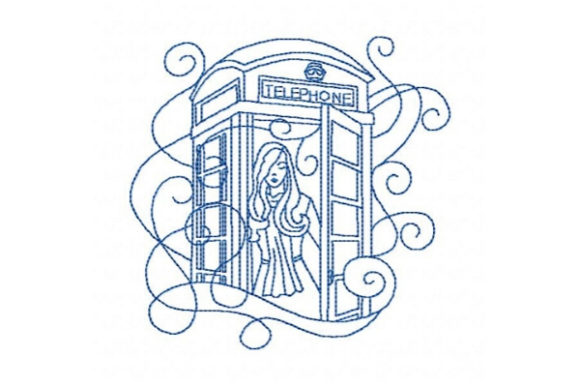 London Telephone Box Europe Embroidery Design By Sue O'Very Designs