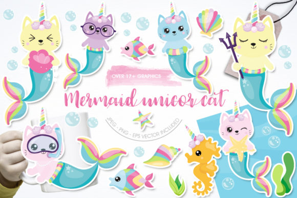 Download Free Mermaid Unicorn Cat Graphic By Prettygrafik Creative Fabrica for Cricut Explore, Silhouette and other cutting machines.