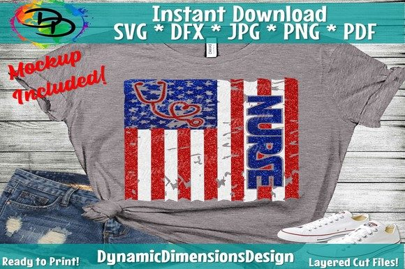Nurse American Flag Graphic Crafts By dynamicdimensions - Image 1