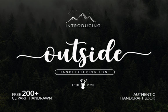 Print on Demand: Outside Script & Handwritten Font By Graphix Line Studio