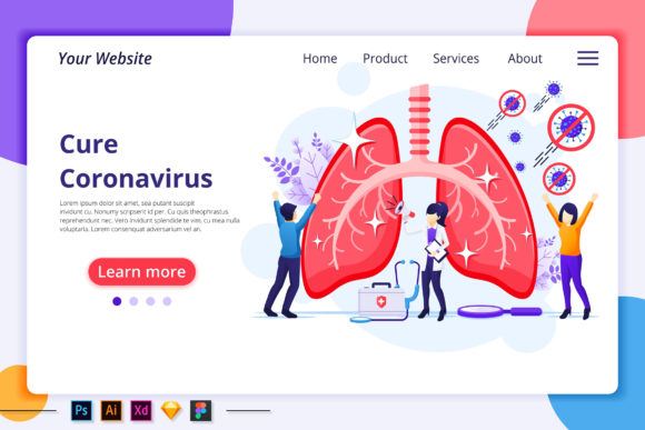 People Cure and Stop Virus Landing Page Graphic Landing Page Templates By agnyhasya.studios