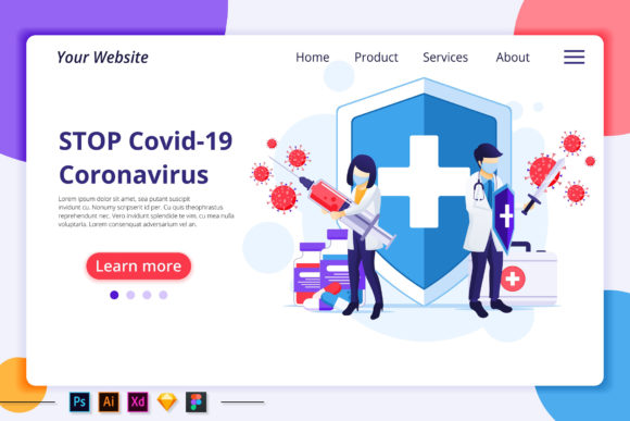 People Fight with Virus Landing Page Graphic Landing Page Templates By agnyhasya.studios