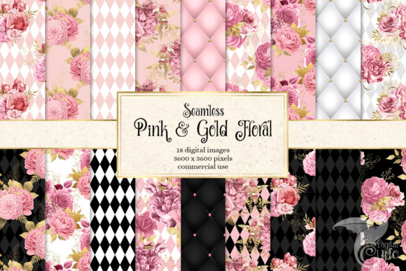 Print on Demand: Pink and Gold Floral Digital Paper Grafik Muster von Digital Curio