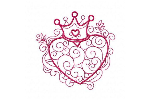 Princess Crown Swirly Heart Valentine's Day Embroidery Design By Sookie Sews