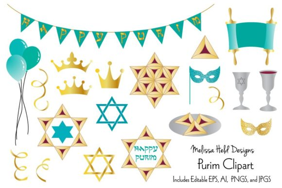 Purim Clipart Graphic Illustrations By Melissa Held Designs