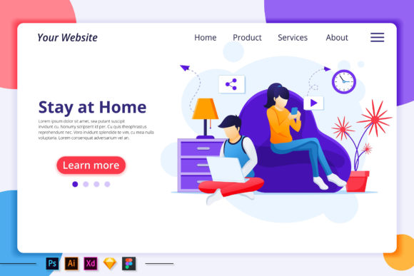 Download Free Quarantine Work From Home Landing Page Graphic By Agnyhasya SVG Cut Files