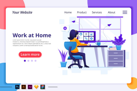 Quarantine, Work from Home Landing Page Graphic Landing Page Templates By agnyhasya.studios
