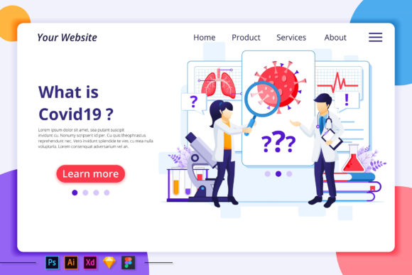 Research Lab Coronavirus Landing Page Graphic Landing Page Templates By agnyhasya.studios