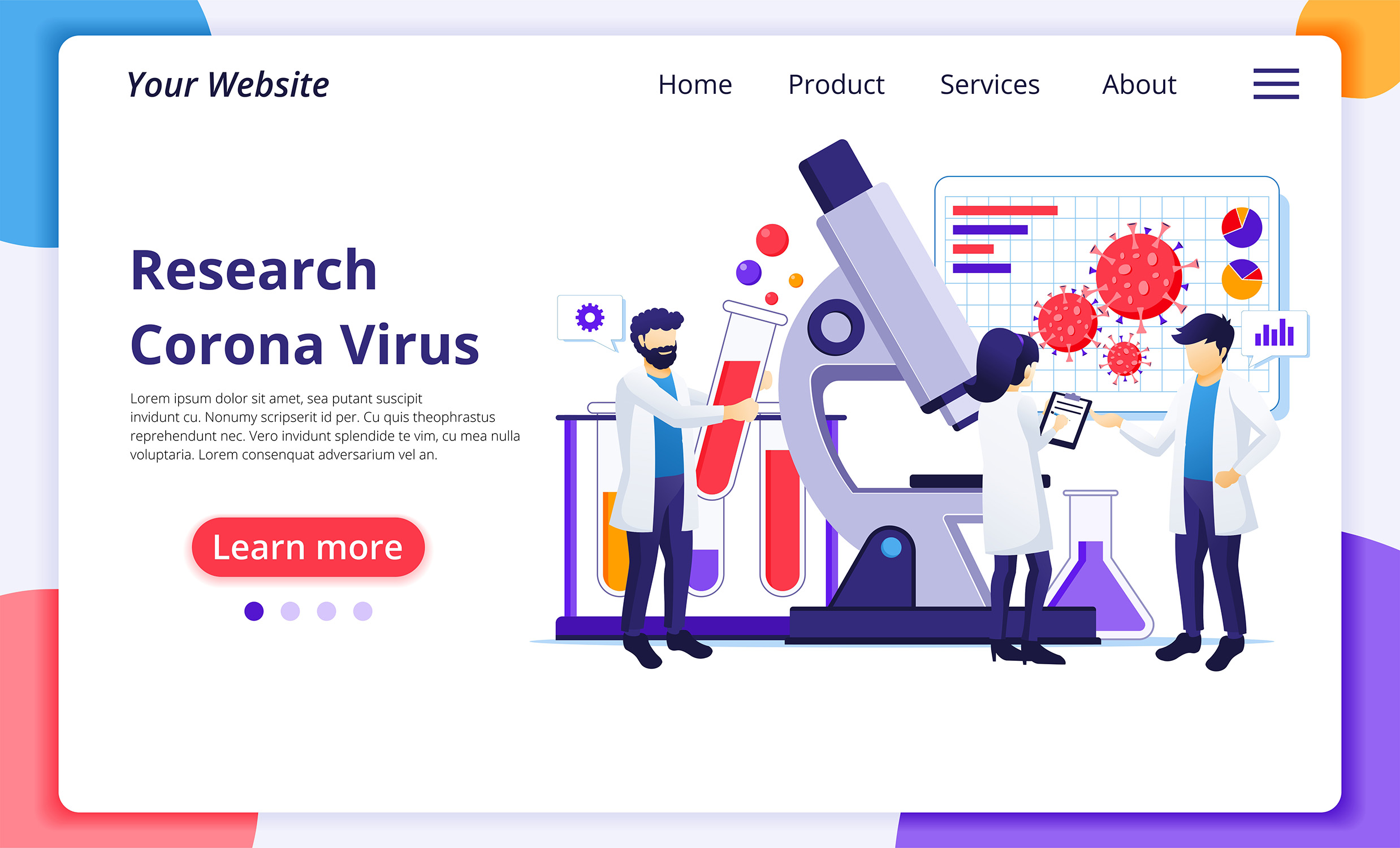 Download Free Research Lab Coronavirus Landing Page Grafico Por Agnyhasya for Cricut Explore, Silhouette and other cutting machines.