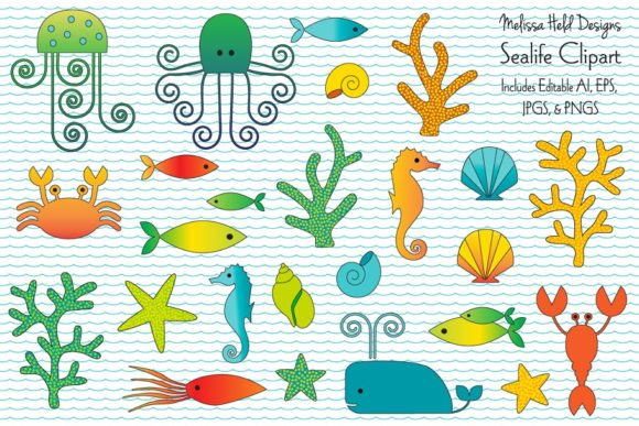 Sealife Clipart & Wave Pattern Graphic Illustrations By Melissa Held Designs