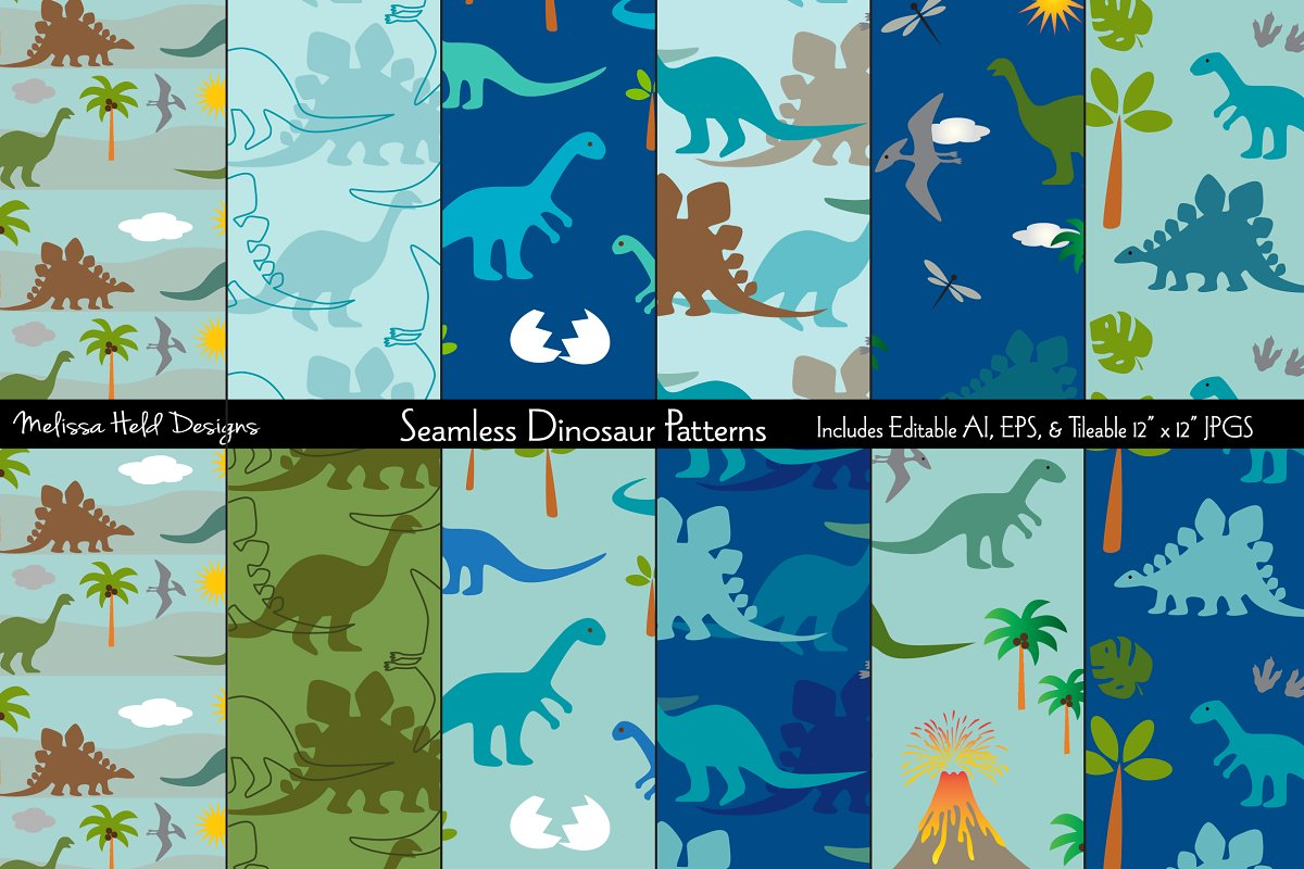 Download Free Seamless Dinosaur Patterns Graphic By Melissa Held Designs for Cricut Explore, Silhouette and other cutting machines.