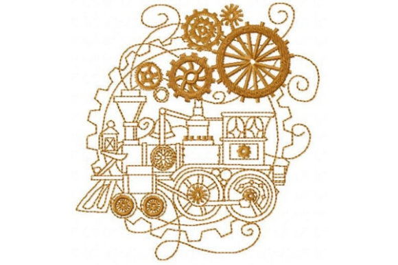 Steam Engine Work & Occupation Embroidery Design By Sue O'Very Designs
