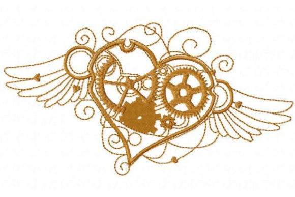 Steampunk Flying Heart Valentine's Day Embroidery Design By Sue O'Very Designs - Image 1