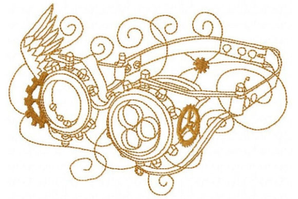 Steampunk Goggles Accessories Embroidery Design By Sue O'Very Designs