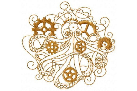 Steampunk Octopus Fish & Shells Embroidery Design By Sue O'Very Designs