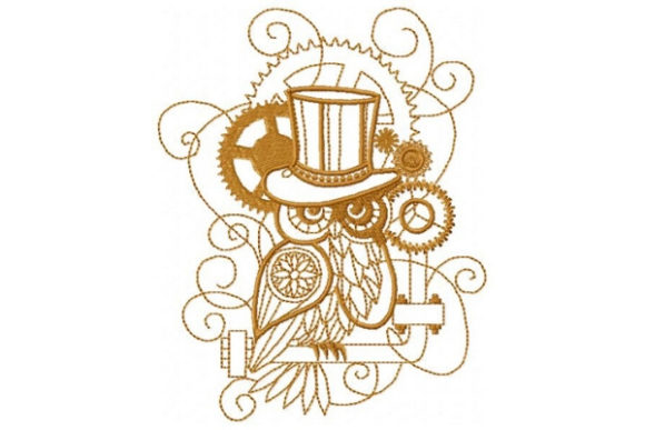 Steampunk Owl Vögel Stickdesign von Sue O'Very Designs