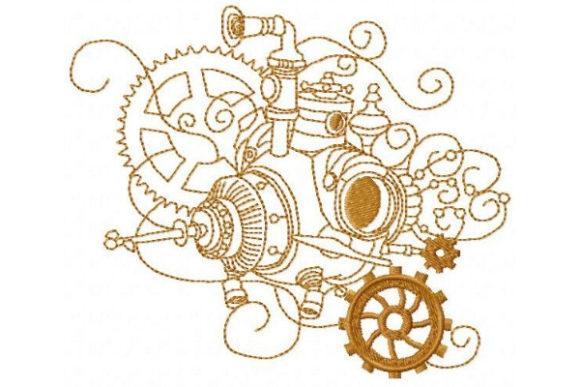 Steampunk Submarine Beach & Nautical Embroidery Design By Sue O'Very Designs