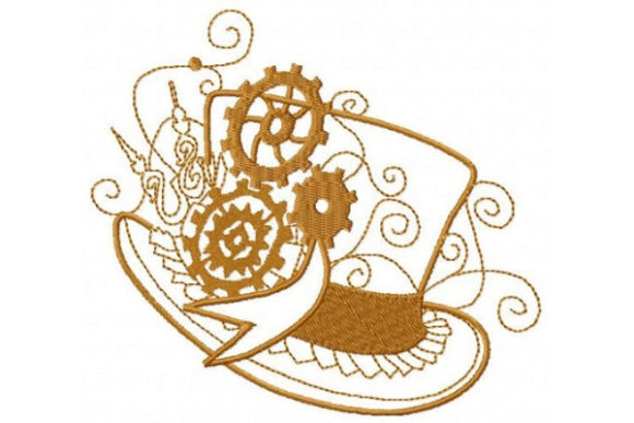 Steampunk Top Hat Clothing Embroidery Design By Sue O'Very Designs - Image 1