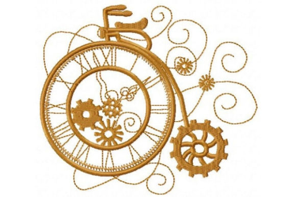 Steampunk Unicycle Sports Embroidery Design By Sue O'Very Designs