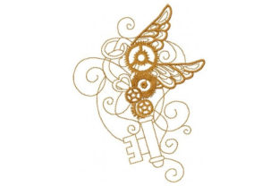 Steampunk Wing Key Work & Occupation Embroidery Design By Sookie Sews