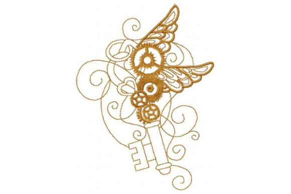 Steampunk Wing Key Work & Occupation Embroidery Design By Sue O'Very Designs