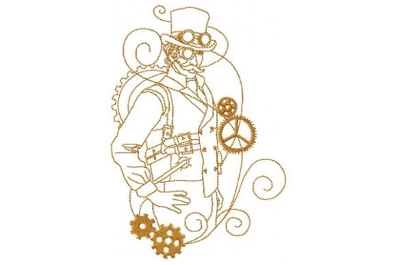 Steampunk Gentleman Clothing Embroidery Design By Sue O'Very Designs