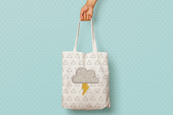Storm Cloud with Lightning Applique Summer Embroidery Design By DesignedByGeeks