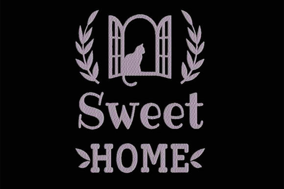 Sweet Home with a Cat Cats Embroidery Design By Embroidery Shelter