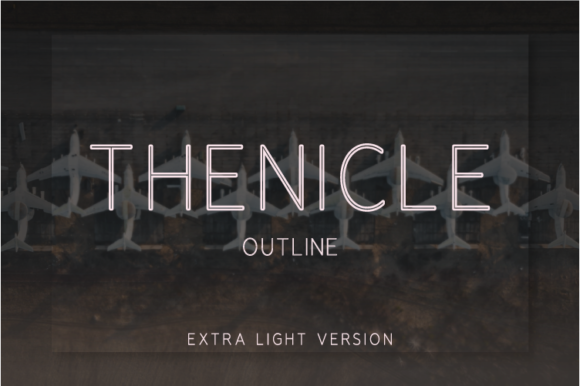 Print on Demand: Thenicle Outline Extra Light Sans Serif Font By Nan Design