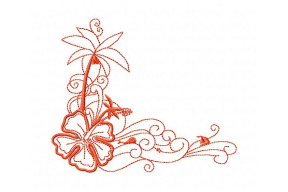 Tropical Flower Outline Flowers Embroidery Design By Sue O'Very Designs