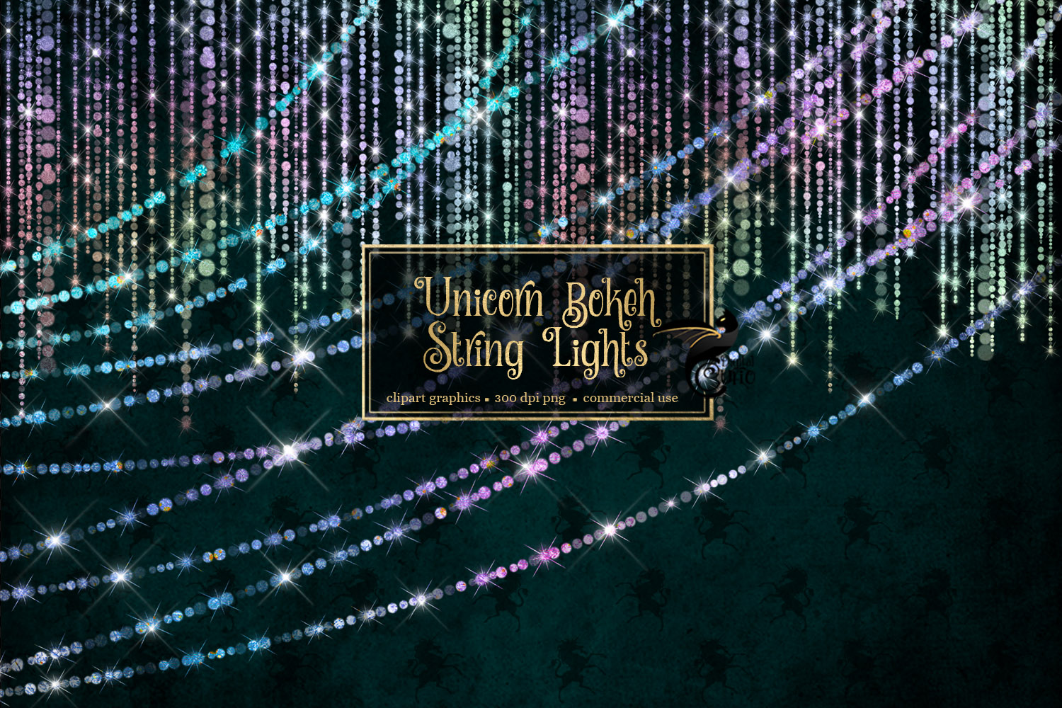 Download Free Unicorn Bokeh String Lights Graphic By Digital Curio Creative for Cricut Explore, Silhouette and other cutting machines.
