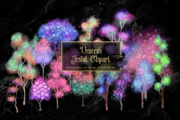 Unicorn Forest Trees Clipart Graphic