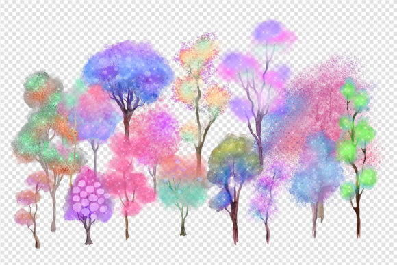 Unicorn Forest Trees Clipart Graphic Download