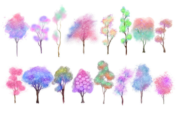 Unicorn Forest Trees Clipart Graphic Item