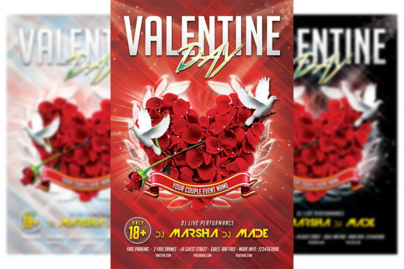 Print on Demand: Valentines Flyer Template #4 Graphic Print Templates By Matthew Design