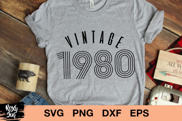 Download Free Vintage 1980 Birthday Graphic By Roxysvg26 Creative Fabrica for Cricut Explore, Silhouette and other cutting machines.