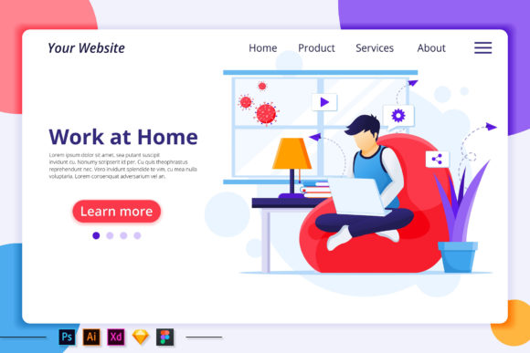 Download Free Work From Home Quarantine Landing Page Graphic By Agnyhasya for Cricut Explore, Silhouette and other cutting machines.