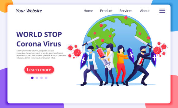World Fight Coronavirus Landing Page Graphic Landing Page Templates By agnyhasya.studios