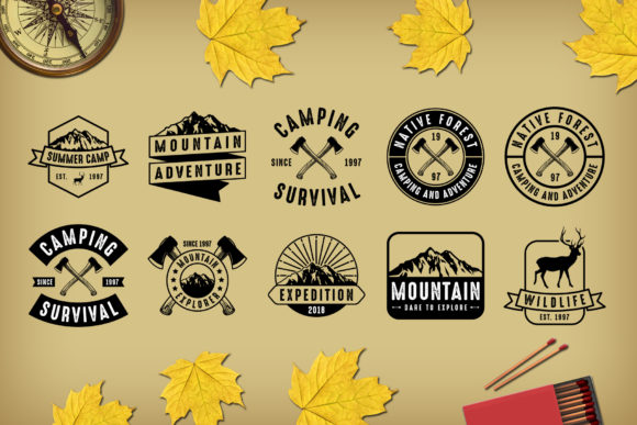 Print on Demand: 10 Adventure Badges Graphic Logos By Tosca Digital