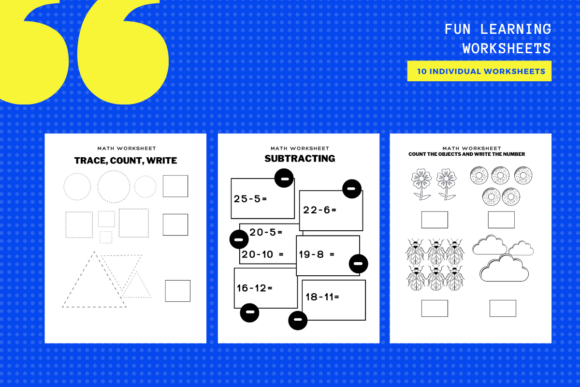 Download Free 10 Math Activity Sheets Graphic By Yumbeehomeschool Creative for Cricut Explore, Silhouette and other cutting machines.