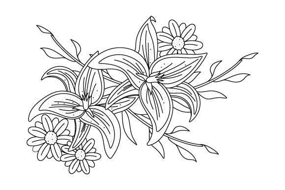 Floral Coloring Page Nature & Outdoors Craft Cut File By Creative Fabrica Crafts